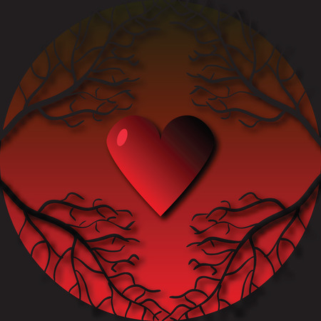 Gothic frame with tree branches and heart. Background on Valentines Day Illustration