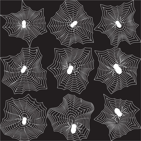 cobwebs: Set of spiders and cobwebs on black background
