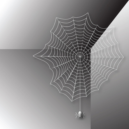 Spider in a web woven corner of the room Illustration