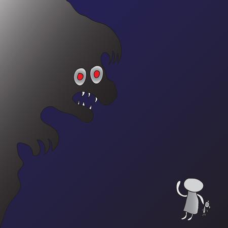 fiend: Impersonation children nightmares. Vector monster scares children.