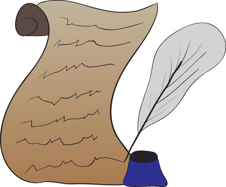 Simple vector illustration of the old scroll with a feather and inkwell Vector