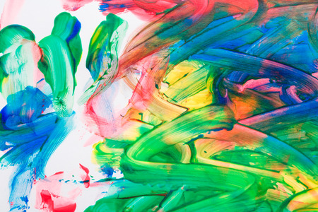 Multicolored abstraction oil paint close-up shot. Drawn child
