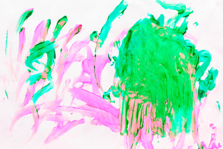 daub: Oil painting painted colorful background with traces of brush strokes. Multicolored abstraction close-up shot.