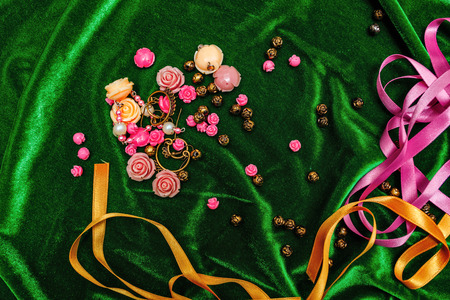craft material tinker: Accessories for needlework: fabric, tape, buttons closeup shot Stock Photo