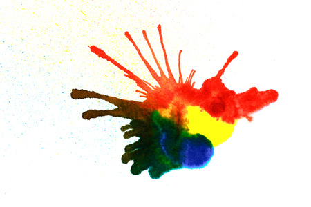 Abstract ink. Colorful stains on white paper. Creative design elements. photo