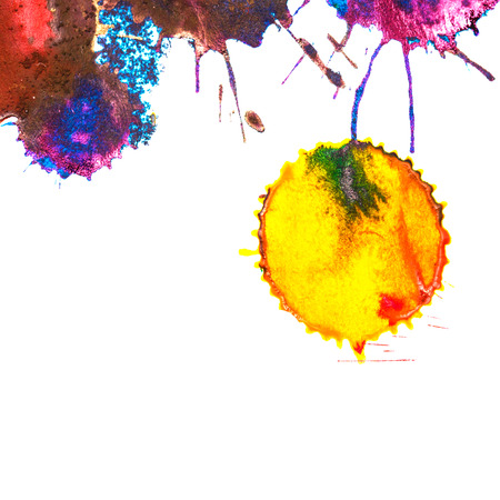 ink stain: Color yellow rainbow ink stain on a white background. Elements of graphic design. Art abstract.