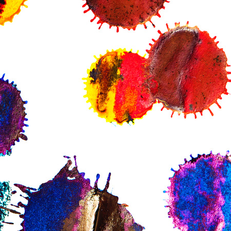 ink stain: Color red, orange, yellow, green, blue, indigo, violet ink stain on a white background. Elements of graphic design. Art abstract.