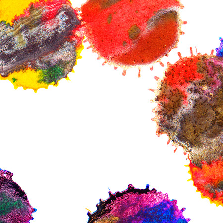 inkblot: Color red, orange, yellow, green, blue, indigo, violet ink stain on a white background. Elements of graphic design. Art abstract.