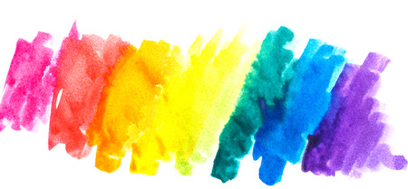 Rainbow abstract watercolors. Colorful background. Design elements. Red, orange, yellow, green, blue, purple paint. Colorful spectrum. Stock Photo