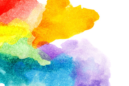 Rainbow abstract watercolors. Colorful background. Design elements. Red, orange, yellow, green, blue, purple paint. Colorful spectrum. 免版税图像