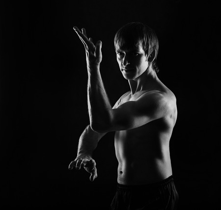 Kung Fu athlete performs kata defense. Low key. The concept of martial arts.