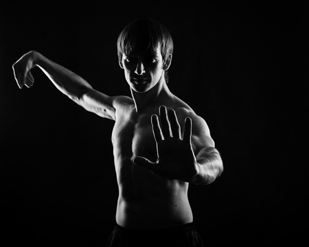 Male fighter kung fu doing kata. Low key. The concept of self-defense.
