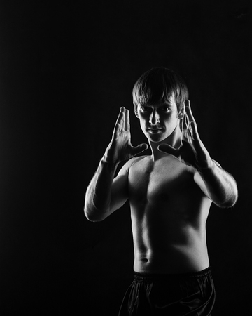key punching: Kung Fu athlete performs basic kata. Low key. The concept of martial arts.