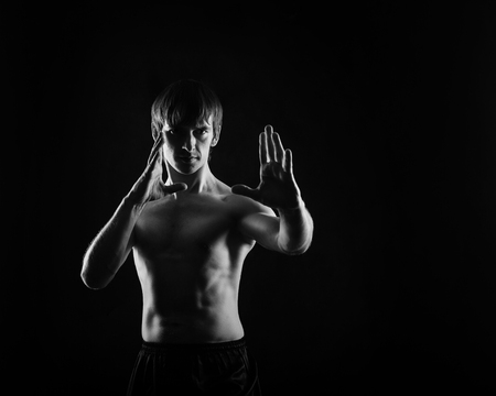 key punching: Kung Fu athlete performs basic kata. Self-defense techniques. Low key. The concept of martial arts.