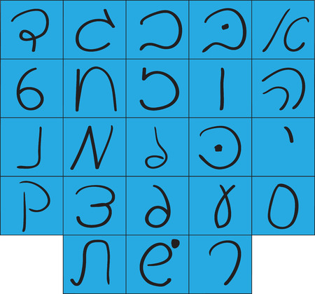 hebrew alphabet: Handwritten Hebrew alphabet.