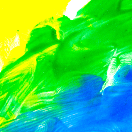 yellow paint: Abstract the oil paint. Paint brush strokes on canvas closeup. Colorful range of colors. Design elements. Color transitions. Yellow, green, blue. Stock Photo