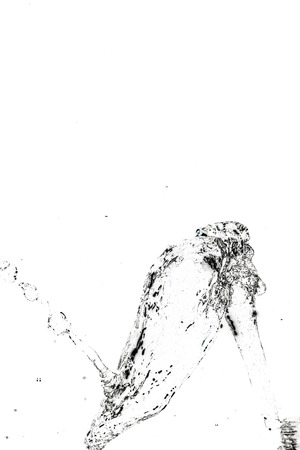 quencher: Abstract water splash on a white background. Texture of water. Elements of design. Waterfall. Shower. Watering. Thirst quencher. Stock Photo