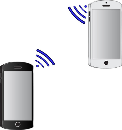 wireless connection: Two modern mobile phones. Wireless connection. Data transfer. Illustration