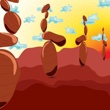 zen garden: Zen Stones. Style Surrealism. Cartoon. Meditation. Landscape. Rock Garden.