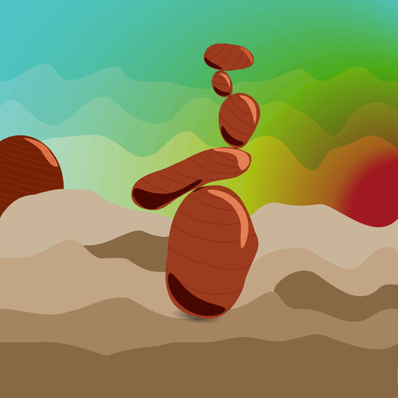 zen stones: Zen stones at sunrise. Style Surrealism. Cartoon. Meditation.
