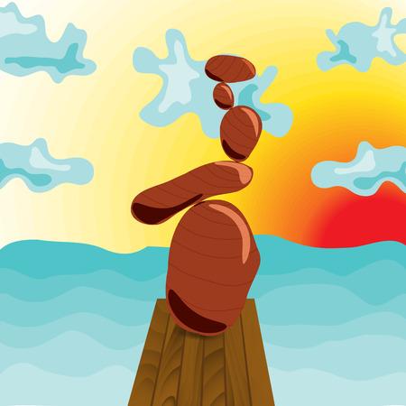 navy pier: Zen stones at the pier. Style Surrealism. Cartoon. Meditation. Navy Pier. Illustration