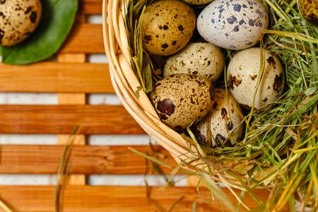 huevos de codorniz: huevos de codorniz diet�ticos en la cesta. Pascua de Resurrecci�n. Foto de archivo