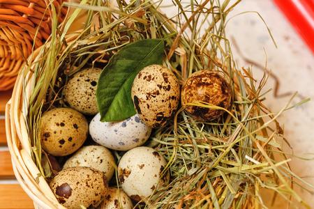 huevos de codorniz: huevos de codorniz en la cesta. Tiendas Delicatessen. Diet�tico.
