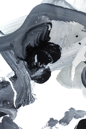 finger paint: Black and gray abstract watercolor design. Childrens drawing. Finger paint. Design element.
