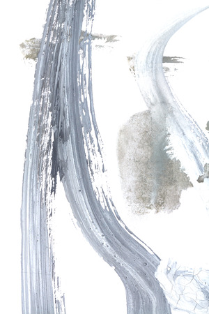 finger paint: Black and gray abstract watercolors design. Baby drawing. Finger paint. Design element.
