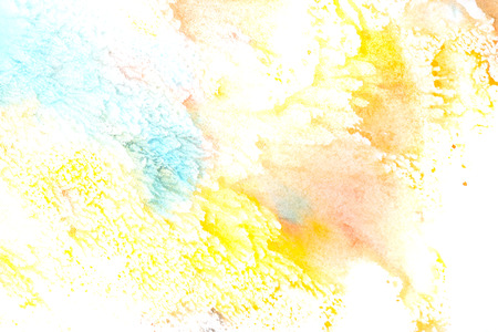 aquamarine: Watercolor abstraction. Childrens drawing. Design elements. Red, green, aquamarine, yellow shades. Stock Photo
