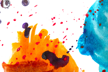 Watercolor abstract in shades of orange blue. Children's drawing. Design elements.
