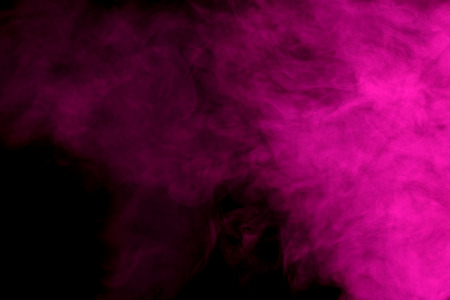 gaseous: Abstract art. Purple smoke hookah on a black background. Inhalation. The steam generator. The concept of poison gas. Gaseous.