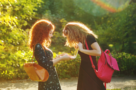 gay girl: Young gay girlfriends in a city park. The girl is holding a notebook. My friend looks at laptop screen girlfriend. Social networking. Best friends.