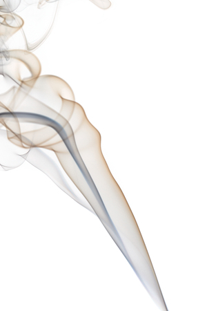 colored smoke: Colored smoke from the incense sticks on a white background.