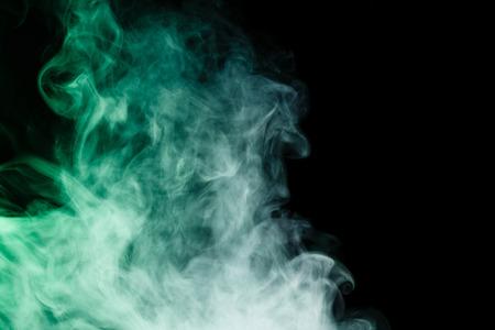 virid: Abstract art. Vivid smoke hookah on a black background.