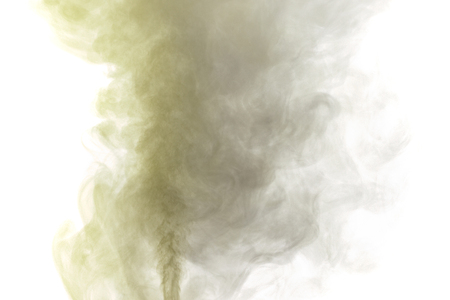 humidifier: Abstract yellow gray water vapor on a white background. Texture. Design elements. Abstract art. Steam the humidifier. Macro shot. Stock Photo