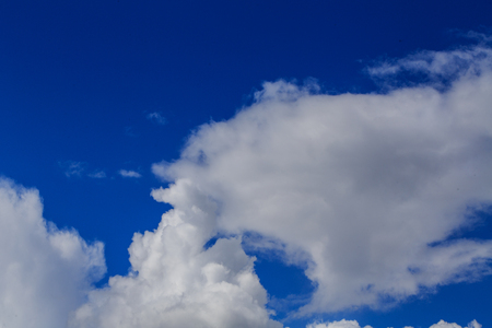 weather front: Blue sky with cloud. Meteorology. Synoptics. Good weather. Changes in the weather. Cloud Front. Stock Photo