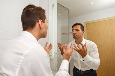 forgot: Man forgot to shave in the morning. The businessman late for a meeting. Unshaven. Stock Photo