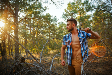 woodcutter: Lumberjack with an ax. Woodcutter in unbuttoned shirt in the coniferous forest. Felling trees. Logging. Manual labor. Brutal man. Sunset Stock Photo