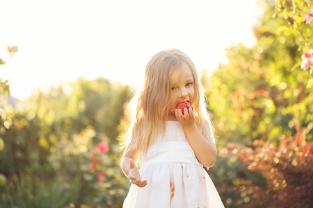 piddle: Nice little girl eating a tomato. She stands barefoot on the green lawn. Girl soiled white dress in tomato juice.