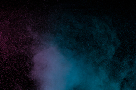 Abstract blue purple water vapor on a black background. Texture. Design elements. Abstract art. Steam the humidifier. Macro shot. Stock Photo