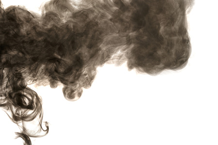 Abstract smoke Weipa. Personal vaporizers fragrant steam. The concept of alternative non-nicotine smoking. Brown smoke on a white background. E-cigarette. Evaporator. Taking Close-up. Vaping. Stock Photo