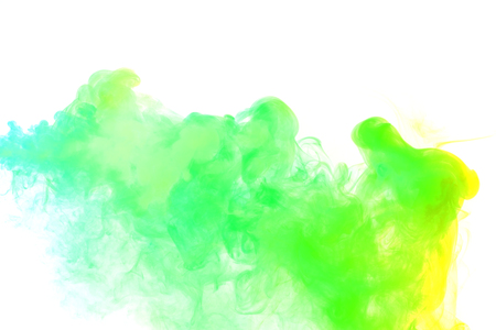 Abstract smoke Weipa. Personal vaporizers fragrant steam. The concept of alternative non-nicotine smoking. Yellow green vape smoke on a white background. E-cigarette. Evaporator. Taking Close-up. Vaping. Stock Photo