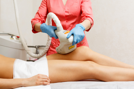 lymphatic drainage therapy: Vacuum anticellulite massage hip girl. Hardware cosmetology. Spa. Skin rejuvenation.