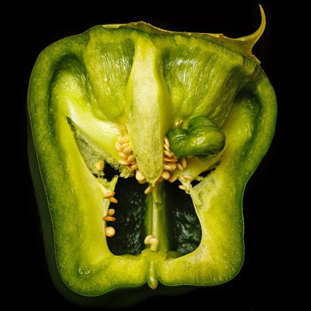 Scary face of pepper. A terrible vegetable. A horror story for a vegetarian. Stock Photo