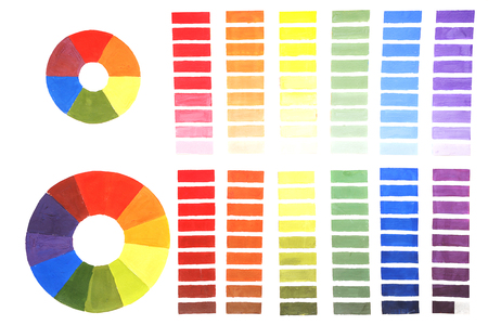 The color wheel. The concept of color mixing. Change the color lightness and saturation change. Crib artist. Stock Photo