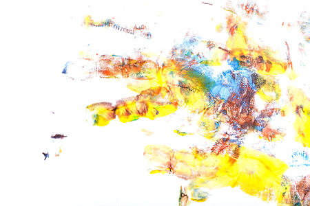 Multicolored imprint of a childrens hand gouache. Finger paint. Childrens creativity. Stock Photo