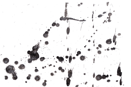 fineart: Abstract black ink splash. Ink blots. Elements of design. Water-soluble mascara on a white sheet of paper. Stock Photo