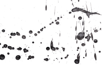 drops of water: Abstract black ink splash. Ink blots. Elements of design. Water-soluble mascara on a white sheet of paper. Stock Photo