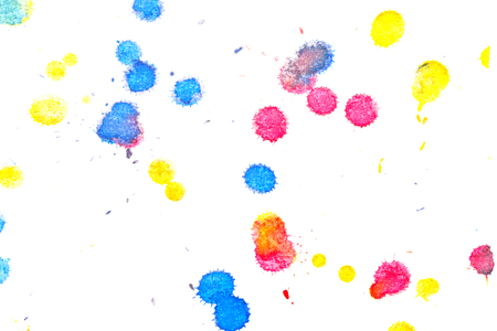 abstractionism: Abstract red, yellow and blue ink splash. Ink blots. Elements of design. The water-soluble ink on white paper Leste. Abstract modern art.